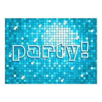 Disco Tiles Blue 'party!' invitation