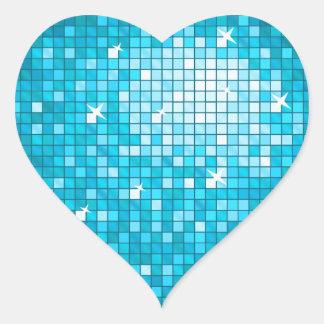 Disco Tiles Blue sticker heart