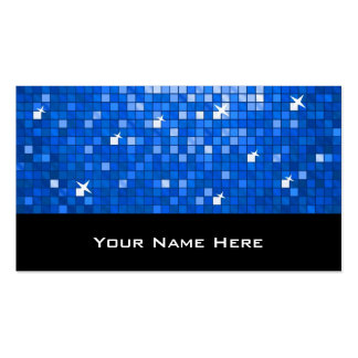 Disco Tiles Dark Blue business card black