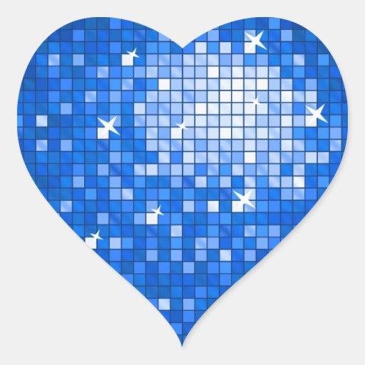 Disco Tiles Dark Blue sticker heart