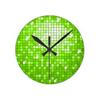 Disco Tiles Green print wall clock