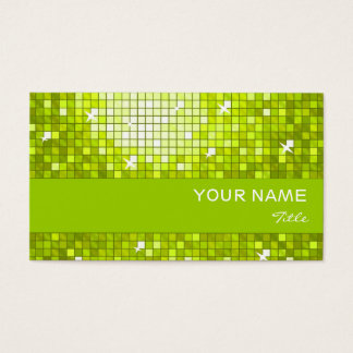 Disco Tiles Lime  business card lime stripe