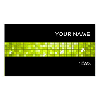 Disco Tiles Lime tile stripe black Double-Sided Standard Business Cards (Pack Of 100)