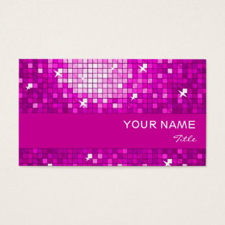 Disco Tiles Pink business card pink stripe