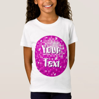 Disco Tiles Pink 'Your Text' round girls fitted T-Shirt
