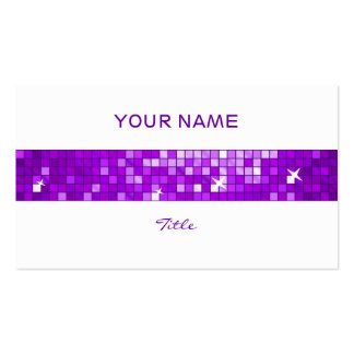 Disco Tiles Purple tile stripe white back Double-Sided Standard Business Cards (Pack Of 100)