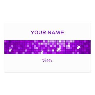 Disco Tiles Purple tile stripe white back Pack Of Standard Business Cards