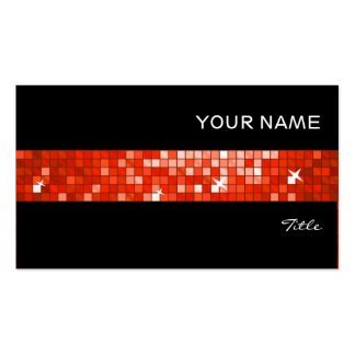 Disco Tiles Red tile stripe black Pack Of Standard Business Cards