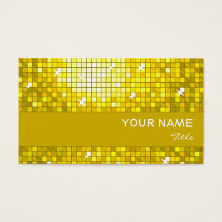 Disco Tiles Yellow business card yellow stripe
