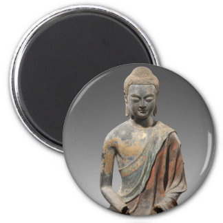 Discolored Buddha Sculpture - Tang dynasty (618) 6 Cm Round Magnet