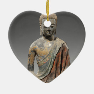 Discolored Buddha Sculpture - Tang dynasty (618) Ceramic Heart Decoration