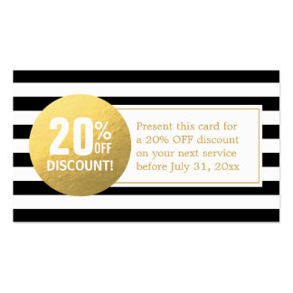 Discount Coupon Card - Black and White Gold Label Pack Of Standard Business Cards