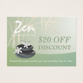 Discount Coupon Loyalty ZEN Stones Massage Therapy Business Card