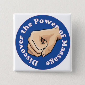 Discover the power of massage 15 cm square badge