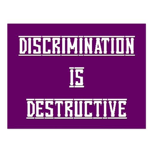 Discrimination Is Destructive Postcard