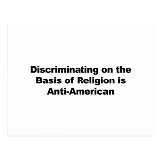 Discrimination on Religion is Anti-American Postcard