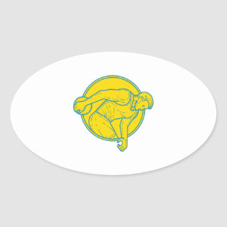 Discus Throw Athlete Side Circle Mono Line Oval Sticker
