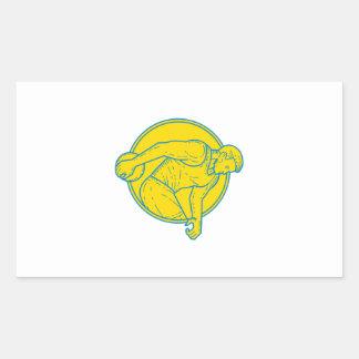 Discus Throw Athlete Side Circle Mono Line Rectangular Sticker