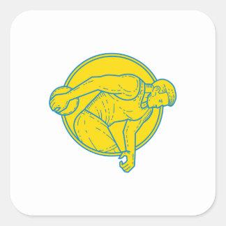 Discus Throw Athlete Side Circle Mono Line Square Sticker