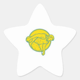 Discus Throw Athlete Side Circle Mono Line Star Sticker