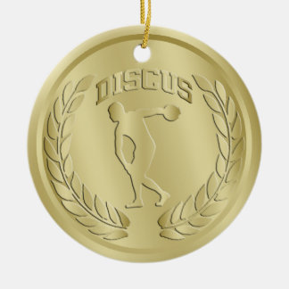 Discus Thrower Gold Toned Medal Ornament