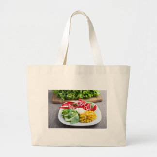 Dish from tomatoes, bell-pepper, mozzarella cheese jumbo tote bag
