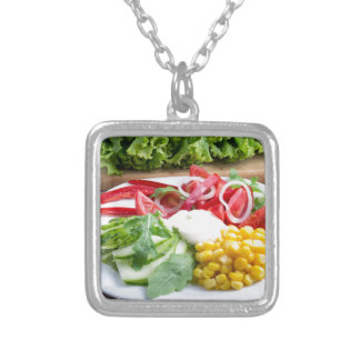 Dish from tomatoes, bell-pepper, mozzarella cheese silver plated necklace
