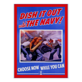 Dish It Out with The Navy ~ Vintage World War 2 Poster