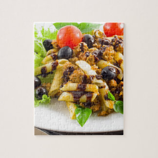 Dish of Italian pasta rigatoni with bolognese Jigsaw Puzzle