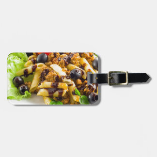 Dish of Italian pasta rigatoni with bolognese Luggage Tag