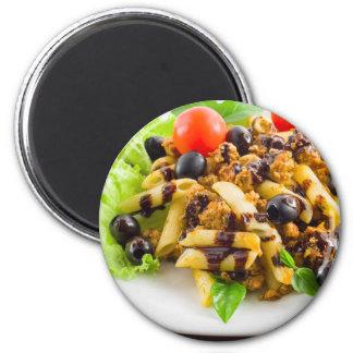 Dish of Italian pasta rigatoni with bolognese Magnet