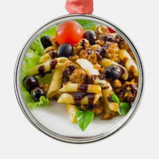 Dish of Italian pasta rigatoni with bolognese Metal Ornament
