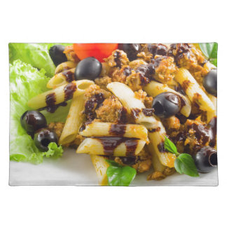 Dish of Italian pasta rigatoni with bolognese Placemat