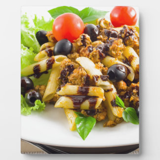 Dish of Italian pasta rigatoni with bolognese Plaque