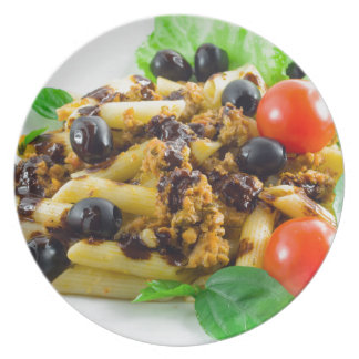 Dish of Italian pasta with bolognese sauce