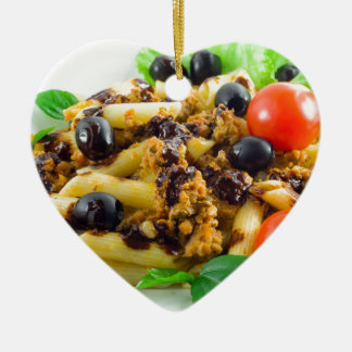 Dish of Italian pasta with bolognese sauce Ceramic Ornament