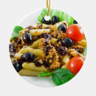 Dish of Italian pasta with bolognese sauce Ceramic Ornament