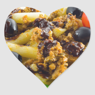 Dish of Italian pasta with bolognese sauce Heart Sticker