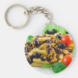 Dish of Italian pasta with bolognese sauce Key Ring