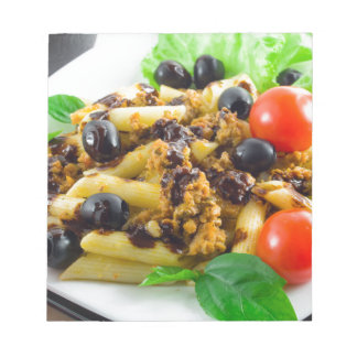 Dish of Italian pasta with bolognese sauce Notepad