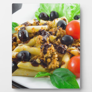 Dish of Italian pasta with bolognese sauce Plaque