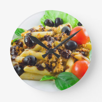 Dish of Italian pasta with bolognese sauce Round Clock
