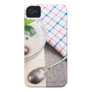 Dish of oatmeal in a bowl of glass iPhone 4 Case-Mate cases