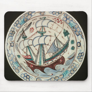 Dish painted with a ship mouse pad