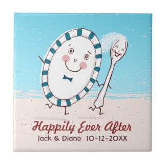 Dish Runs Away with the Spoon Beach Wedding Tile