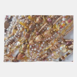 Dish Towel- Natural Earthtones Beads Print Towels