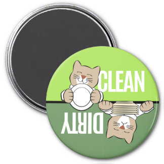 Dishwasher Cat with Dishes 7.5 Cm Round Magnet