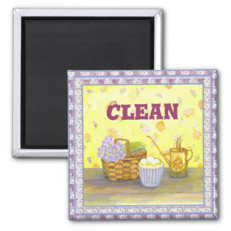 """Dishwasher Magnet #1 """"Clean"""" on Eggs & Flowers"""