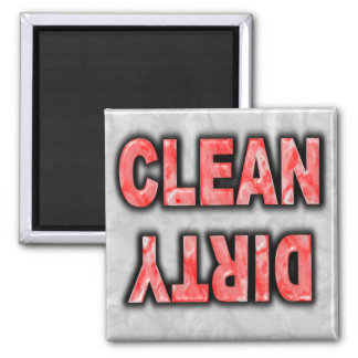 Dishwasher Magnet: CLEAN DIRTY Square Magnet