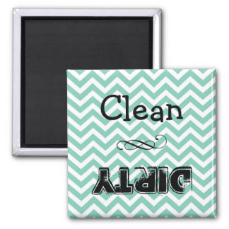 Dishwasher magnet: clean or dirty (taupe chevron) square magnet